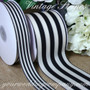 Black & Ivory Vintage Striped Ribbon