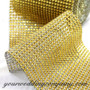 Faux Rhinestone Mesh Ribbon (Gold 24 Row)