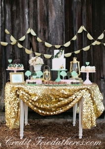 Gold Sequin Table Cloth for a Candy Buffet