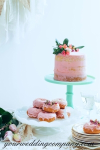 Pink Dessert Bar with Cake and Donuts