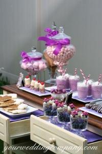 Purple Dessert Buffet Using a Dresser