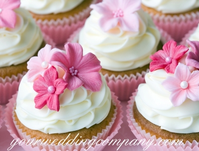 Wedding Cupcakes with Pink Flowers