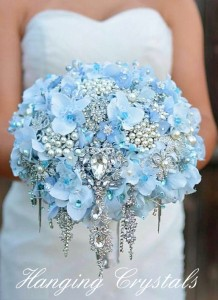 Hydrangea Bouquet with Brooches and Hanging Jewels