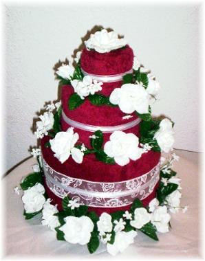 Burgundy and White Towel Cake