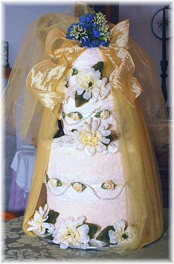 Ivory and Gold Towel Cake