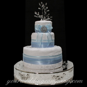 White and Light Blue Towel Cake
