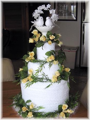 Yellow and White Towel Cake