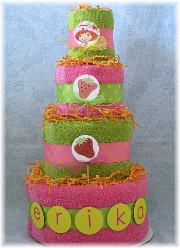 Pink and Green Towel Cake