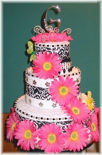 Pink Black and White Towel Cake
