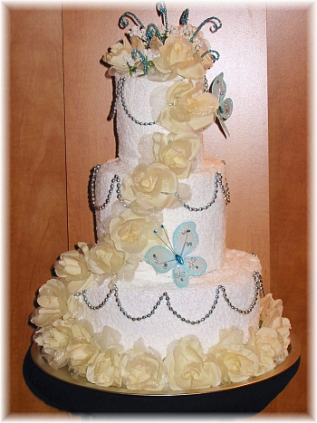 White Ivory and Turquoise Towel Cake