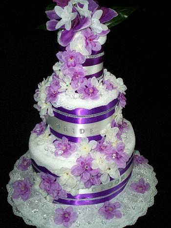 Purple Lavender and White Towel Cake