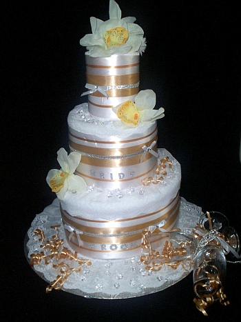 White and Gold Towel Cake