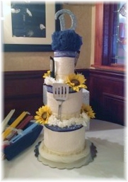 White Navy and Yellow Towel Cake