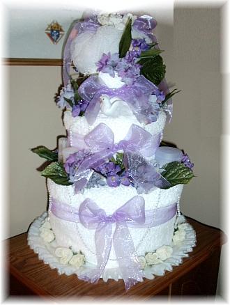 Purple and White Towel Cake