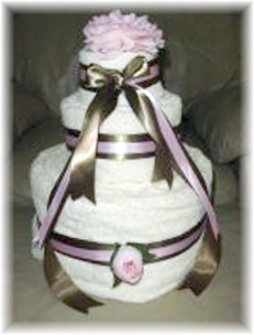 White and Brown Towel Cake