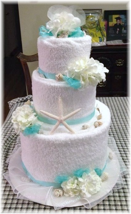 Blue and White Beach Themed Towel Cake