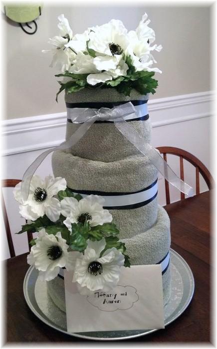 Beige and Cream Towel Cake