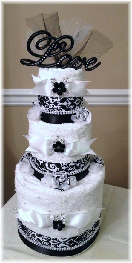 Black and White Towel Cake