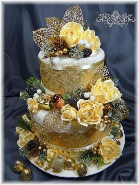 Gold White and Yellow Towel Cake