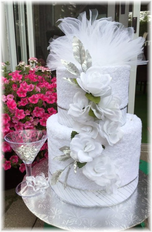 White Towel Cake with Flowers