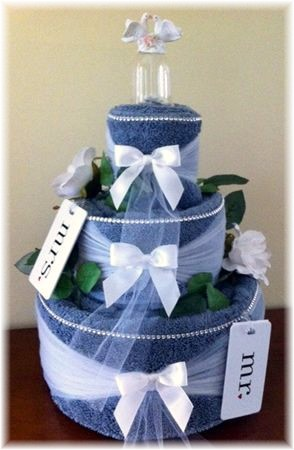 Blue and White Towel Cake
