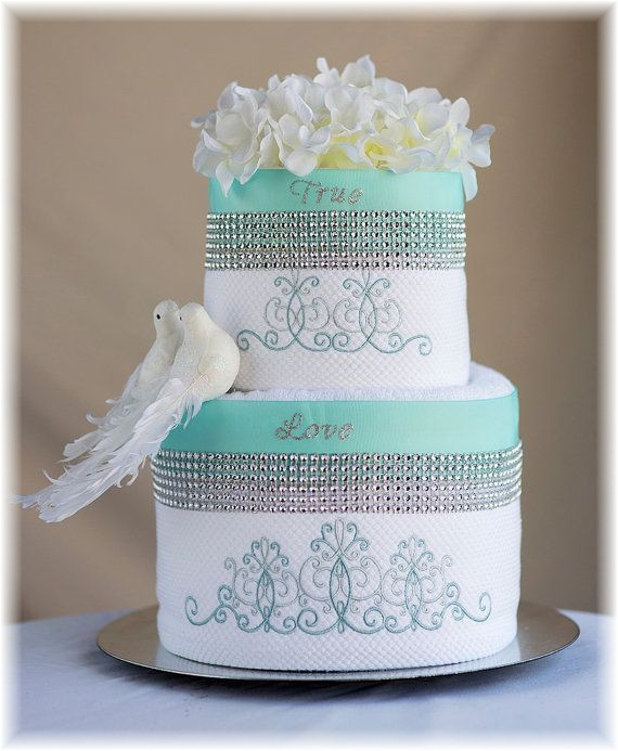Blue White and Silver Towel Cake