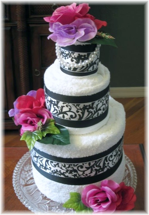 Black and White Towel Cake with Flowers