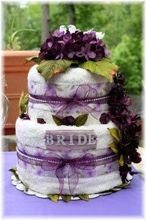 Lavender and White Towel Cake