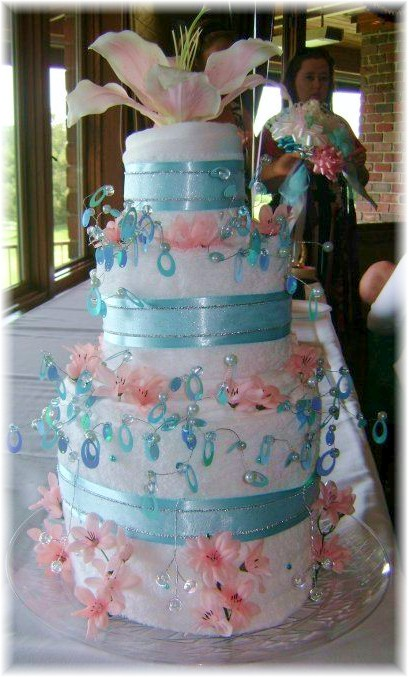 Pink Blue and White Towel Cake
