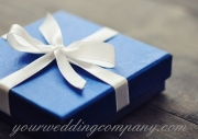 Registering wedding gifts - blue gift box.