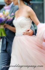 Bride and groom walking together.