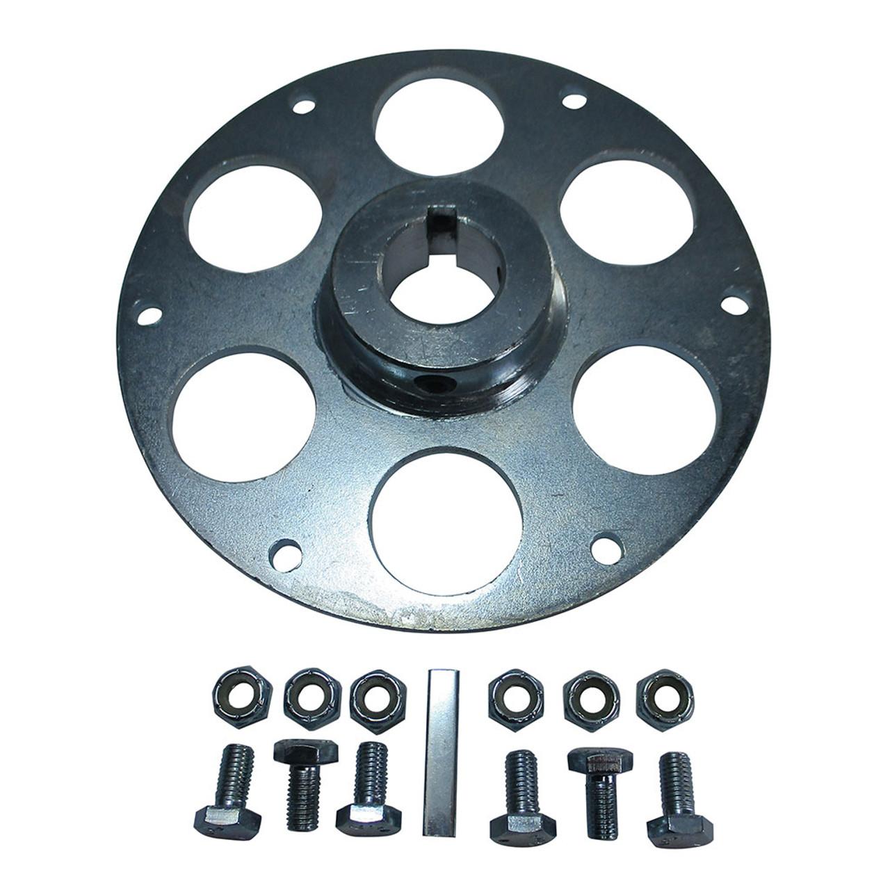 """Uni-Hub, Steel, Zinc Plated, 1"""" Bore , 1/4"""" Keyway Plus Hardware Kit"""