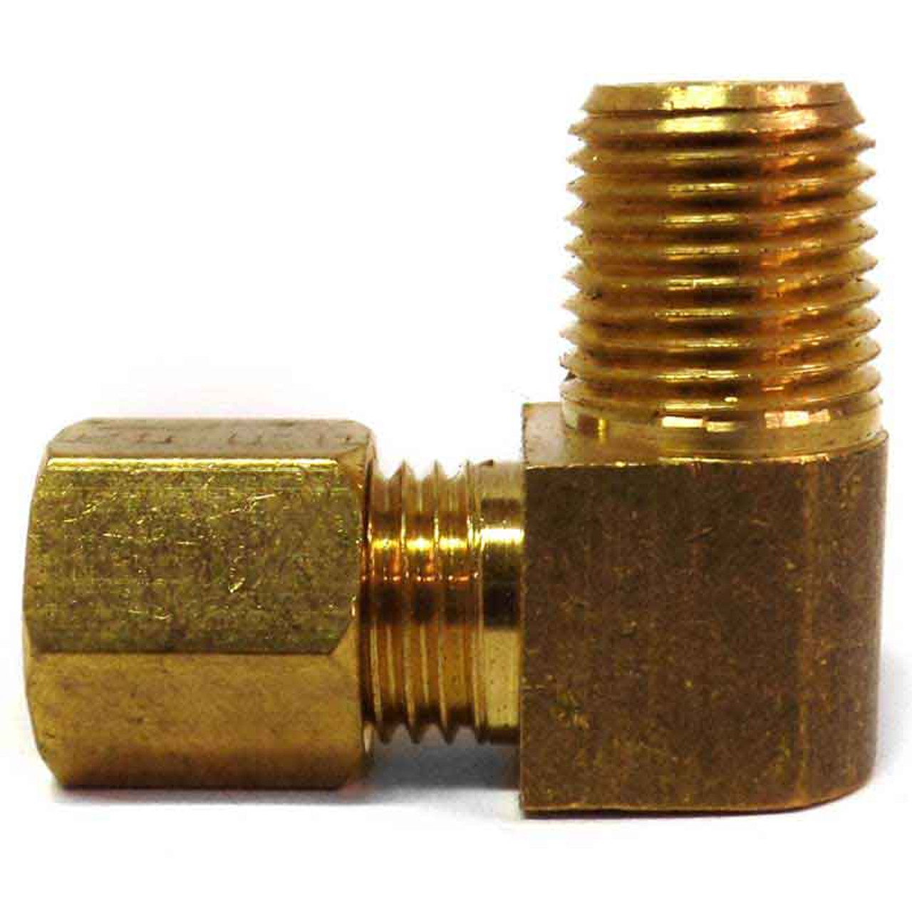 """Male Adapter Elbow Brass Fitting, 3/16"""" Tube to 1/8"""" N.P.T."""