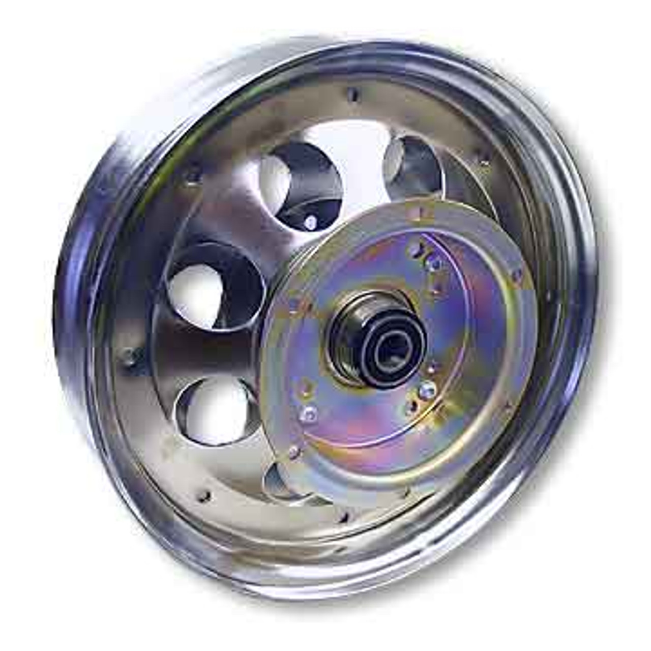 """10"""" Steel Wheel, Chrome Plated, With 5/8"""" ID Precision Ball Bearing, Flanged Brake Drum"""