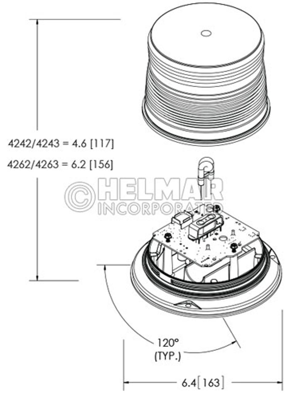 4243A Preco Double Flash Amber Strobe Light, 12-48V