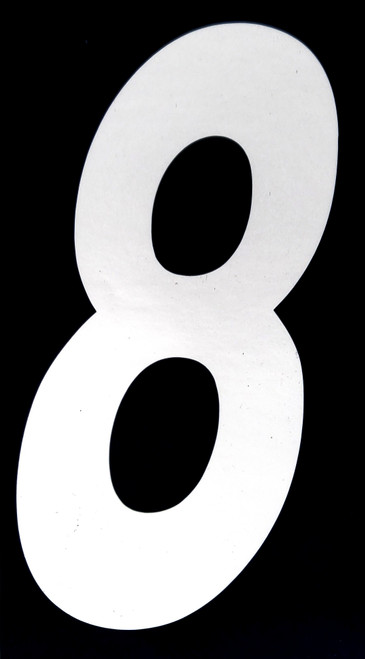 "Stick-on 6"" slanted number (8 white)"