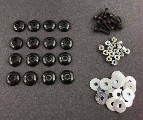 16-Piece Body Fastener Kit (Black) for Mini Bike & Go Kart - Washers Bolts Nuts