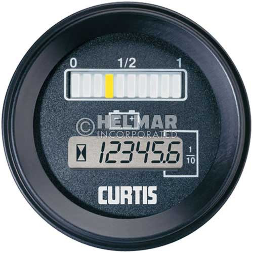 802RB12BN Curtis Battery and Hour Gauge 802 Model Dimensions without Lift Lockout, 12 Volt
