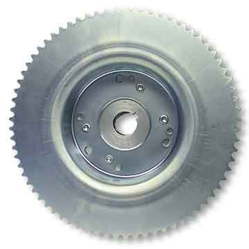 """72 Tooth 35 Chain Sprocket 4-1/2"""" Drum Riveted to Mini-Hub, 1"""" Bore"""