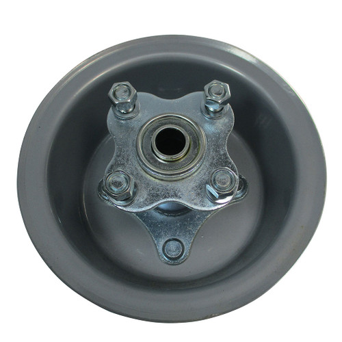 """6"""" Wheel, Steel, Wide, With 5/8"""" BB Flanged Hub With Bolts"""