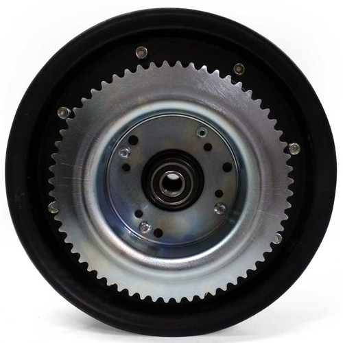 """10"""" Steel Wheel, Black Oxide with Sprocket and Drum, 60 Tooth 35 Chain"""