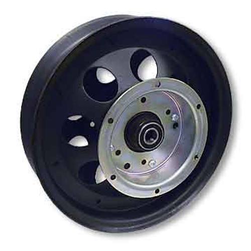 """10"""" Steel Wheel, Black Oxide, With 5/8"""" ID Precision Bearing, Flanged Brake Drum"""