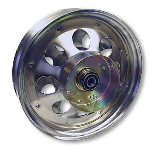 """10"""" Steel Wheel, Chrome Plated, With 5/8"""" ID Precision Bearing, Brake Drum"""