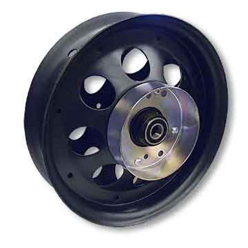"10"" Steel Wheel, Black Oxide, With 5/8"" ID Precision Bearing, Brake Drum"