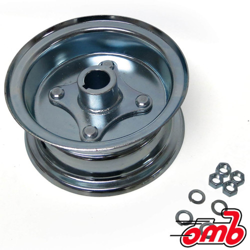 """5"""" Wheel, Steel, Assembly With 1"""" Live Axle Hub, 2 Piece Rim, 3 3/8"""" Wide"""