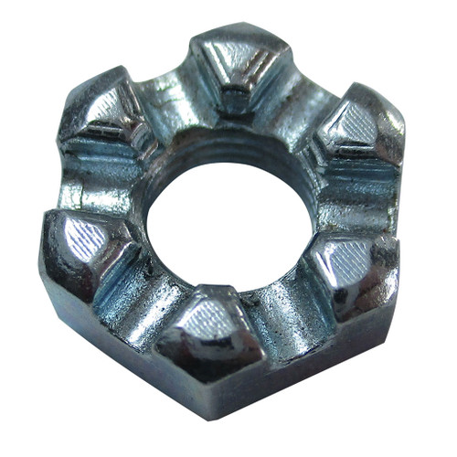 Slotted Hex Nut, 1/4-28, Zinc Plated