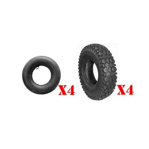 Set of (4) 410 x 350 x 6 Studded Tires & (4) L-Stem Tubes