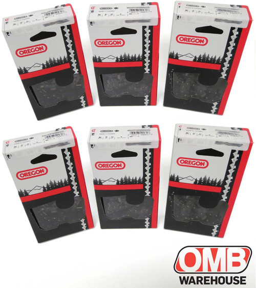 """Pack of 6 Oregon Chain 12"""" Bar 3/8 Pitch .050 Gauge 45 Drive Links"""