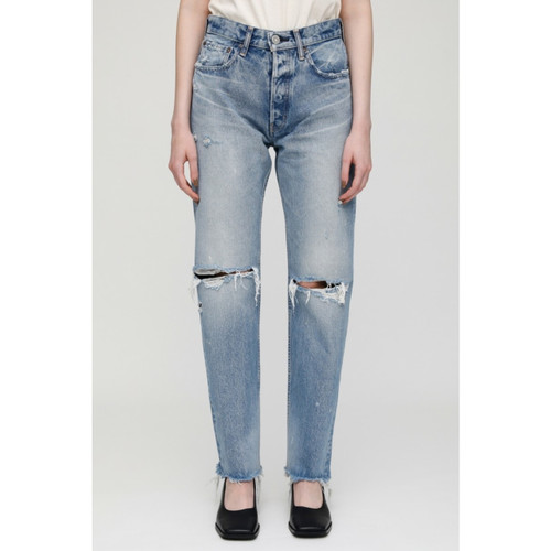 MOUSSY VINTAGE ODESSA WIDE STRAIGHT JEANS - BLU