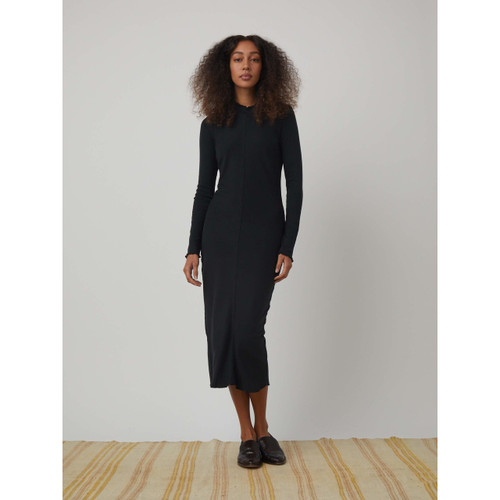 RAQUEL ALLEGRA BLACK BABY RIB WITH LETTUCE EDGE LONG SLEEVE FITTED DRESS